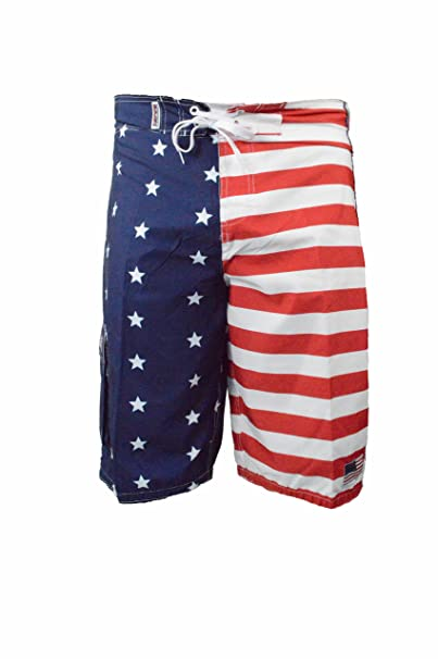 a29ebc21d2 American Flag Mens Swim Trunks with Pockets & Mesh Lining, Long Inseam  Boardshorts (Small