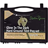 Garden Haven (TM) Set of 20 Heavy Duty Steel Hard Ground Tent Awning Camping 8 Inch Rock Pegs with Luminous Glow-in-the-dark Heads in Plastic Case and Tent Peg Puller