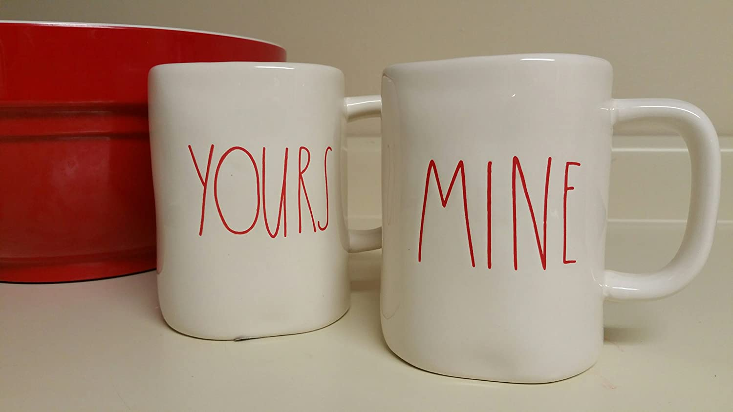 7128da23948 Rae Dunn Magenta Artisan Collection Ceramic Mugs Yours and Mine (Set of 2)  - Cream/Red Writing