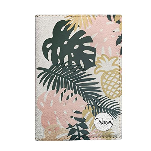 Big Tropical leaves passport cover eco leather travel floral document holder
