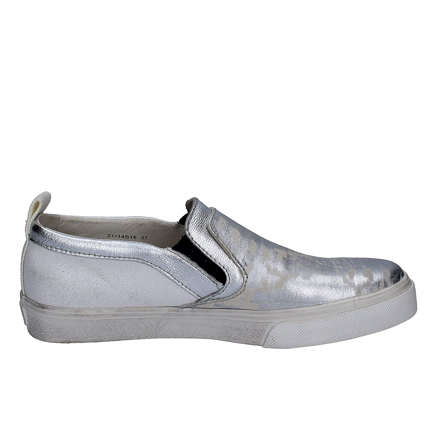 CRIME LONDON Loafers-Shoes Womens Leather Silver