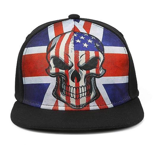 a41dd65556e Odelia Walter Skull Flag Flat Bill Snapbacks Mesh Baseball Caps Trucker Hat  (Colorful Flag