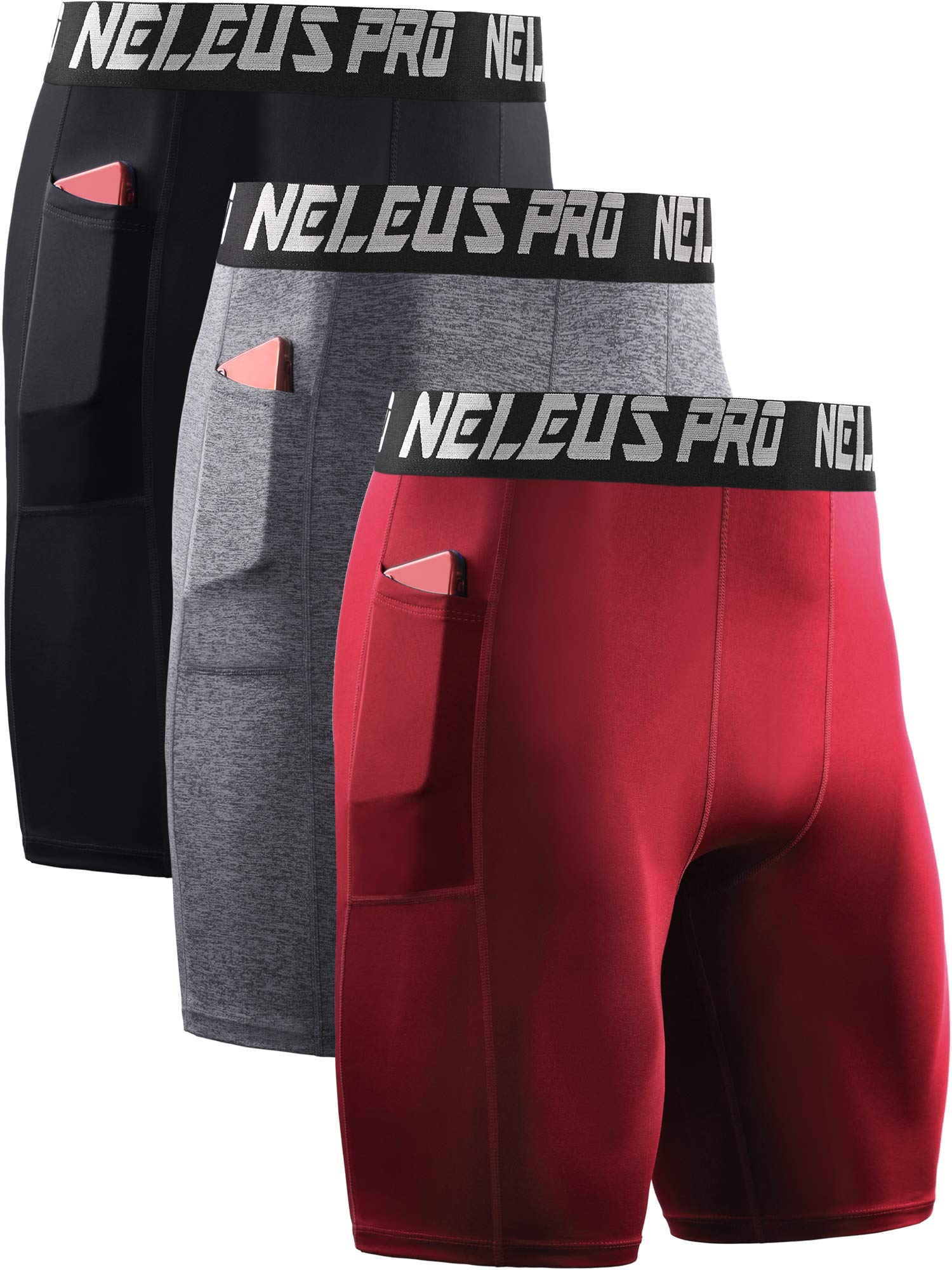 Neleus Men's 3 Pack Compression Shorts with Pockets,6063,Black/Grey/Red,US XL,EU 2XL by Neleus