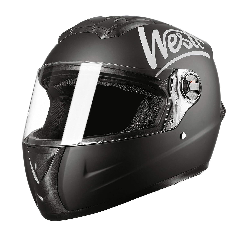 Westt Storm /· Integralhelm Motorradhelm in Schwarzmatte /· Roller Motorrad ECE