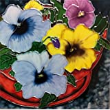 Continental Art Center BD-0304 8 by 8-Inch Puprle and Yellow Pansy Flowers in a Pot Ceramic Art Tile