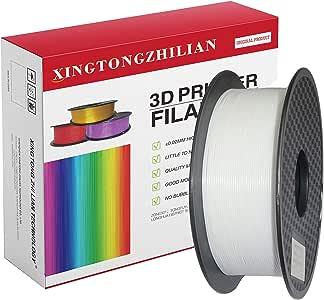 3D Printer Filament PLA 1.75mm, 3D Printing Filament PLA for 3D Printer and 3D Pen, Metallic Color PLA Filament, Black PLA Filament, Dimensional Accuracy +/- 0.02mm,1kg (2.2lb) Spool(White)