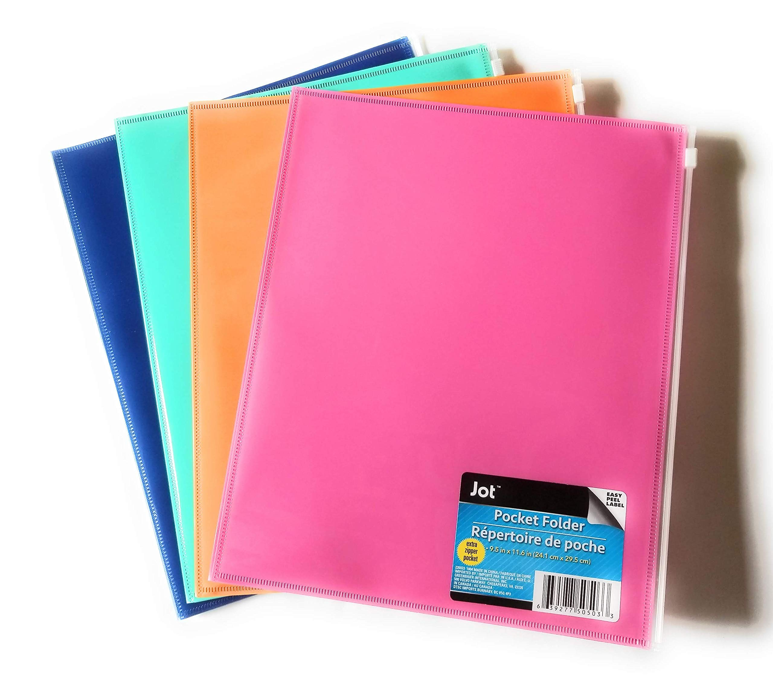 Set of 4 Two-Pocket Plastic Portfolio Folders with Zip Cover Pockets
