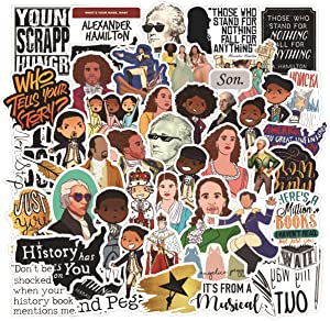 Alexander Hamilton Stickers Pack for Water Bottle,Waterproof Vinyl Cute Stickers Perfect for Hydro Flask Laptop Phone Car Skateboard Travel Case Bicycle Bumper Snowboard Decor (Hamilton 50 Pcs)