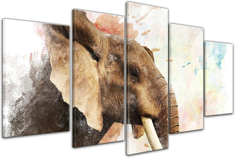 Bilderdepot24 Cuadros en Lienzo Lámina Reproducción Acuarela Elefante 120 x 80 cm 4 Piezas - Listo tensa, Directamente Desde el Fabricante: Amazon.es: Hogar