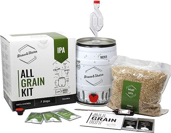 Brew&Share | Kit para hacer cerveza IPA | Tu cerveza en 2 semanas. Elaboración con maltas. Fermentación en barril. Materiales reutilizables.