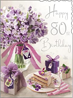 Happy 80th birthday greeting card ladies quality verse luxury friend greeting card jj4078 female 80th birthday purple flowers and cake foil embossed m4hsunfo