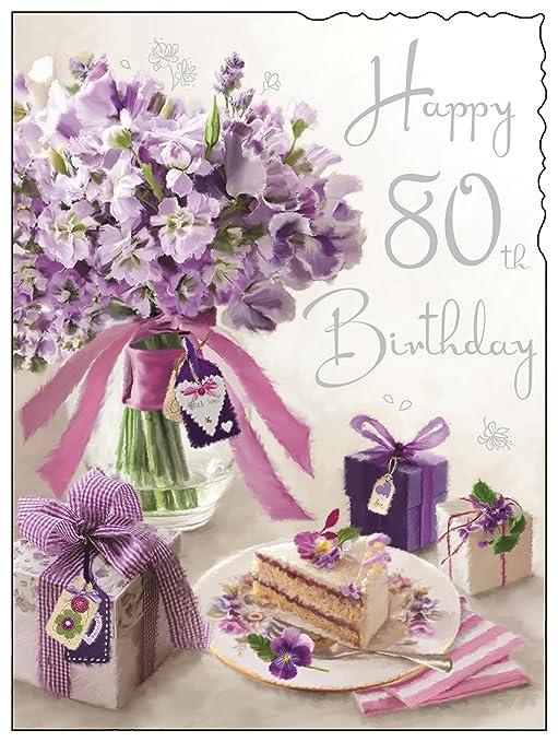 Fiori 80 Anni.Jonny Javelin Greeting Card Jj4078 Female 80th Birthday Purple