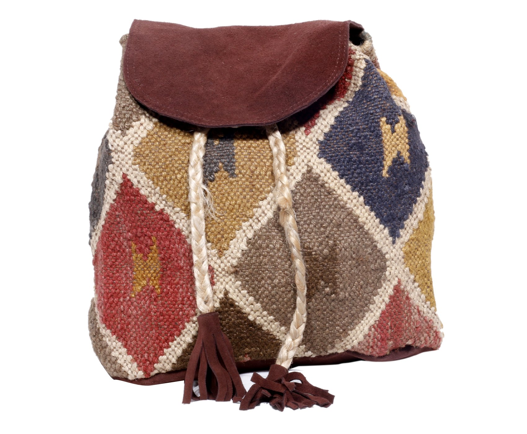Indistar Women's Vintage Handmade Ethnic Kilim and Leather Back Pack Bag by Indistar (Image #8)