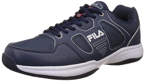 4dd98b410 Fila Men s Lugano 4.0 Navy and Silver Tennis Shoes -10 UK India (44 ...