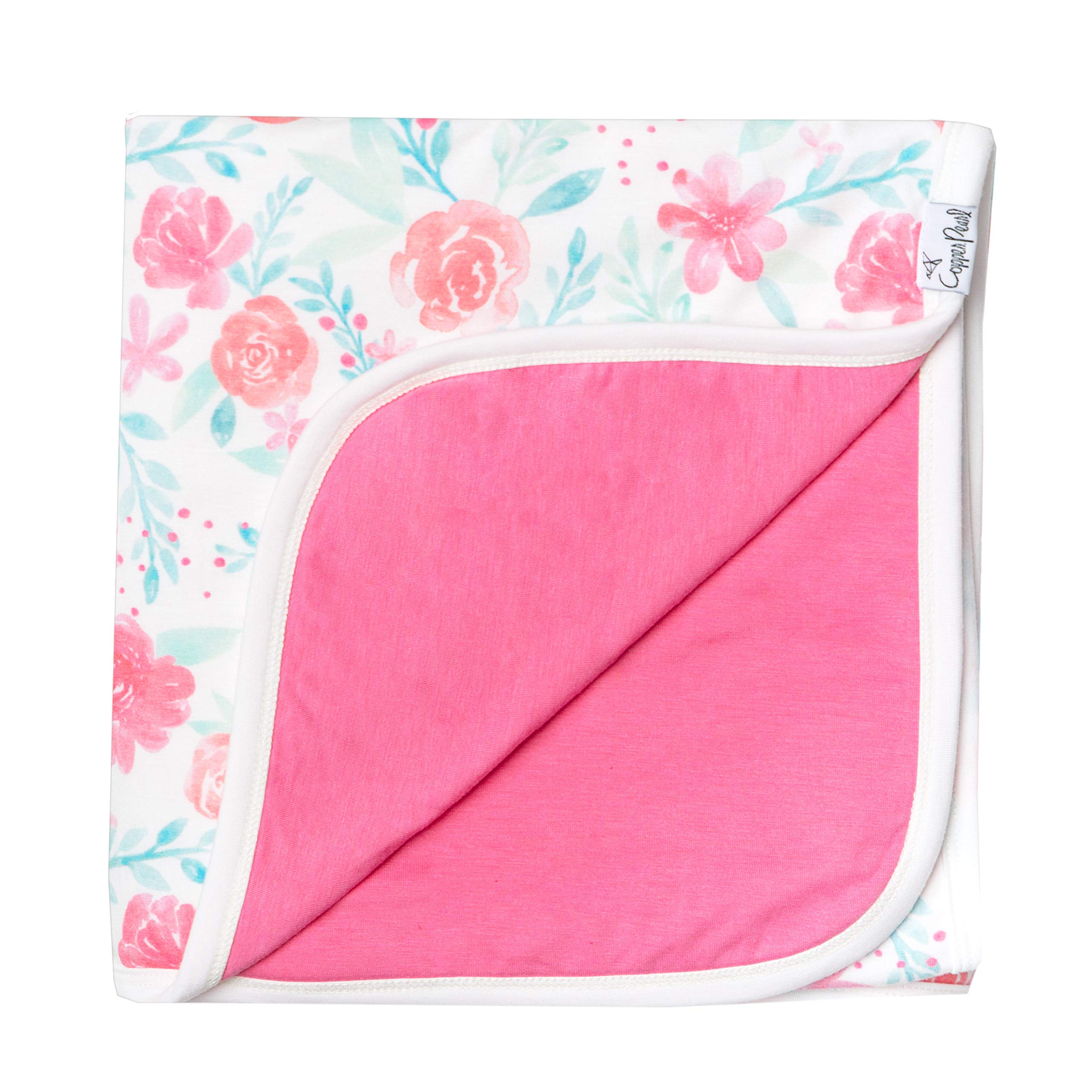 Large Premium Knit Baby 3 Layer Stretchy Quilt Blanket Floral''June'' by Copper Pearl