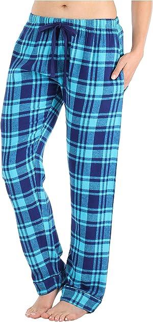 PajamaMania Women's Cotton Flannel Pajama PJ Pants with Pockets