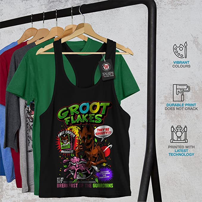 Wellcoda Groot Flakes Comic Mens T-shirt Cereal Graphic Design Printed Tee