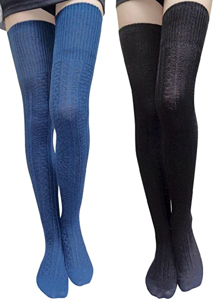 777024089d4 AM Landen Thigh High Socks Boot Socks Leg Warmer Over Knee High Socks Cable Knit  Socks