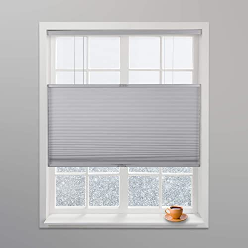 Arlo Blinds Grey Light Filtering Top Down Bottom Up Deluxe Cordless Cellular Shade