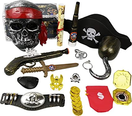 Kids 6 Piece Pirate Set Hook Eyepatch Telescope Compass Fancy Dress