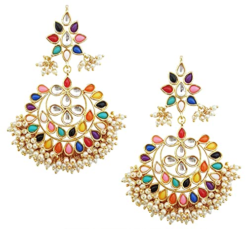 e5f9e78567a6a Mehrunnisa Traditional Multi-Colour Stones, Kundan & Pearl Chand Bali  Earrings With Free Kan Chain for Women (JWL1915)