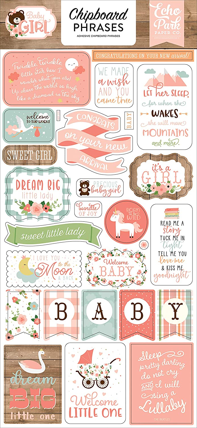 yellow green Echo Park Paper Company Baby Girl 6x13 Phrases chipboard blue pink