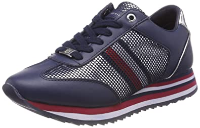 Damen Tommy Corporate Flag Sneaker, Blau (Tommy Navy 406), 40 EU Tommy Hilfiger