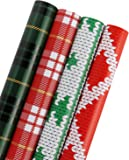 WRAPAHOLIC Wrapping Paper - Plaid, Knit Heart, Knit Christmas Tree Design for Wrap - 4 Rolls - 30 inch X 120 inch Per Roll