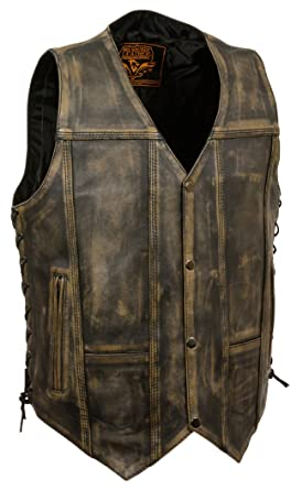 30c6002fbc Milwaukee Brown Distressed Leather Biker Vest at Amazon Men's ...