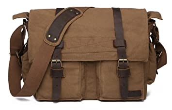 Sechunk Vintage Military Leather Canvas Laptop Bag Messenger Bags Medium a3edd36786367