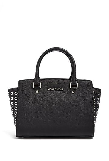 b6b6ad7af08e03 Amazon.com: MICHAEL Michael Kors Selma Saffiano Leather Medium Top Zip  Satchel (Black): Shoes