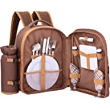 ALLCAMP 2 Person Picnic Backpack Hamper with Cooler Compartment includes Tableware & Fleece Blanket (coffee)