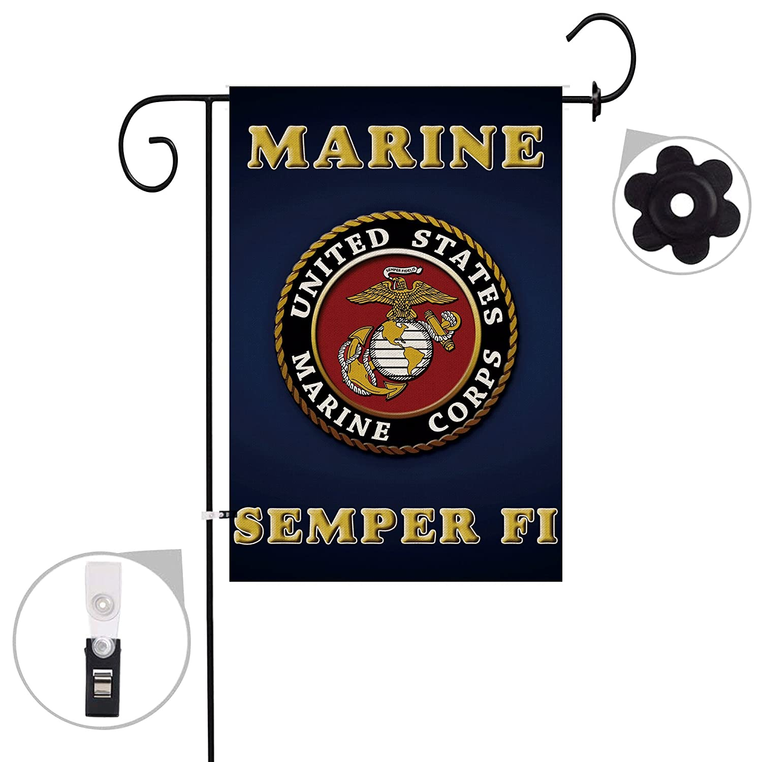 Hexagram Marine Corps USMC Garden Flag Burlap Outdoor Decorative Double Sided Seasonal Yard Flag 12x18 inch Prime