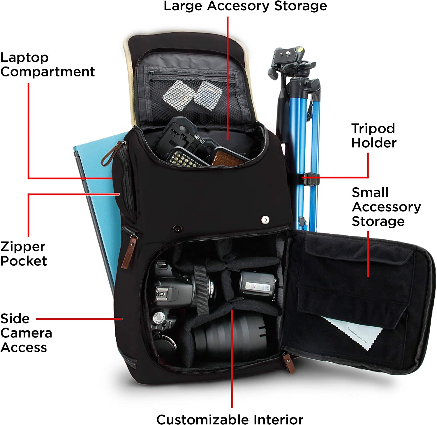 Tan GOgroove Full-Size DSLR Photography Backpack Case Tripod Holder Accessory Storage for Camera and Laptop with 15.6 inch Laptop Space Long-Lasting Durability and Weatherproof Rain Cover