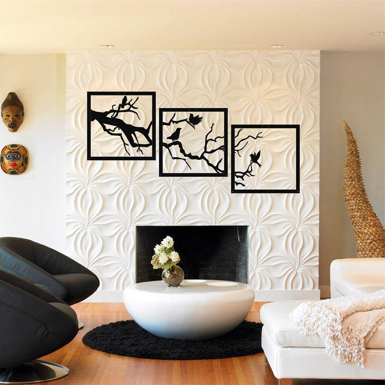 Diuangfoong Metal Tree and Birds Wall Art, Metal Tree Wall Art, Tree Sign, Metal Wall Decor, 3 Pieces Wall Hangings, Metal Wall Art, Home Decoration 30