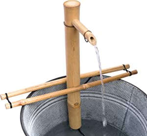 Bamboo Accents Water Fountain with Pump, Backyard Pond Kit, Large 18 Inch Adjustable Style, Smooth Split Resistant Bamboo, Natural Bamboo Fountain