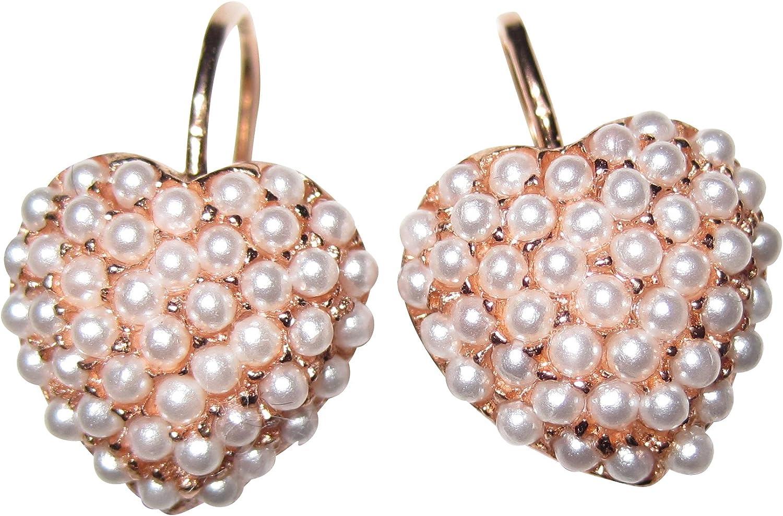 Pendientes románticos en forma de corazón con pequeñas perlas blancas de agua dulce, cierre de gancho plegable, plata de ley chapada en oro rojo de 18 quilates, hechos a mano en Italia