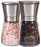 Q's Inn Salt and Pepper Grinder Set - [Lifetime Warranty] Brushed Stainless Steel Salt & Pepper Mill with Glass Bottle - Adjustable Ceramic Mechanism - Best Shakers Pair for Healthy Cooking