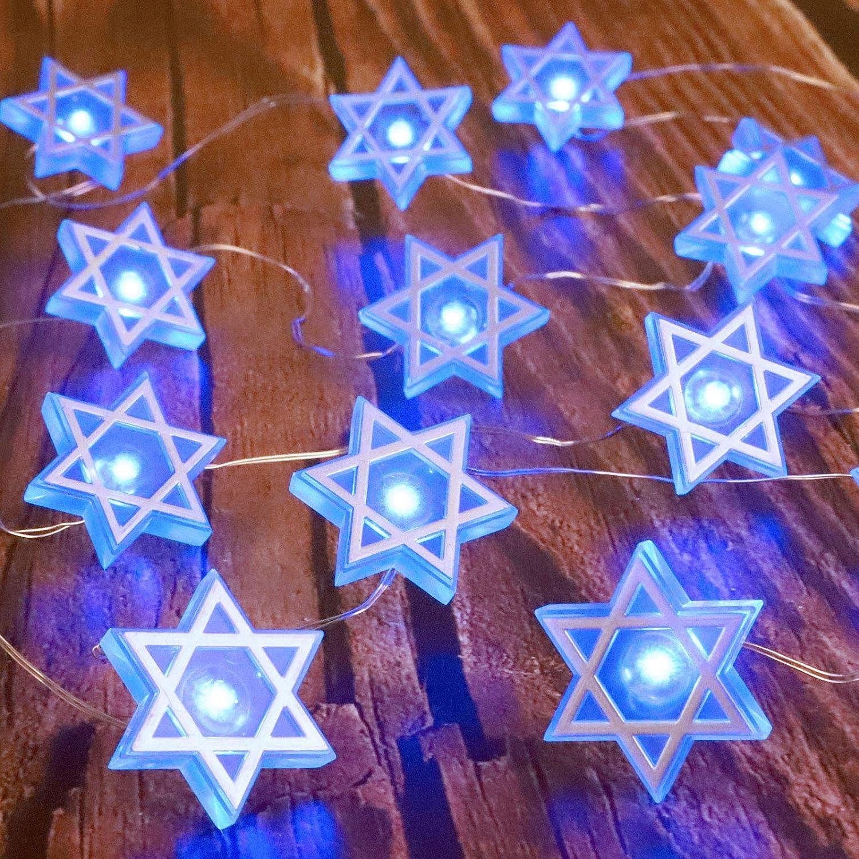 Star of David Fairy String Lights, 10 ft 30 LEDs, Battery USB Powered with Remote Control, Hexagram Magen Star for Jewish Judaism Hanukkah Chanukah Passover Shabbat Ornament Decor