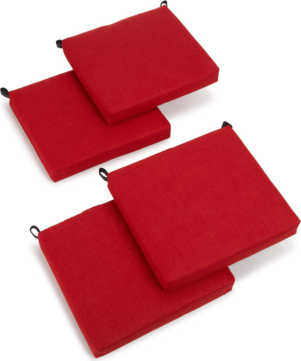 Blazing Needles Outdoor Spun Poly 19-Inch by 20-Inch by 3-1 2-Inch All Weather UV Resistant Zippered Cushions, Paprika, Set of 4