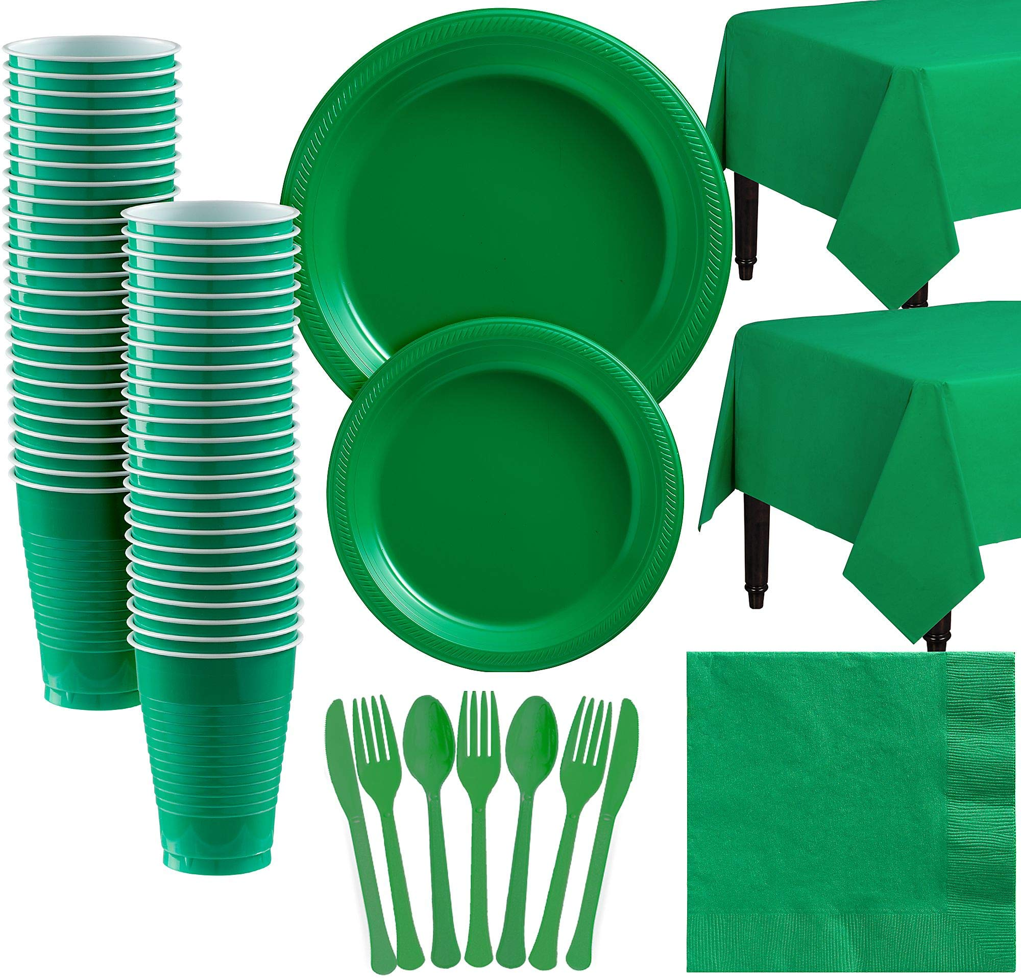 Amscan Festive Green Plastic Tableware Kit for 50 Guests, Party Supplies, Includes Table Covers, Plates, Cups and More by amscan (Image #1)