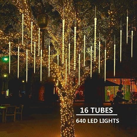 Maoyue Meteor Shower Lights 16 Tubes 640 Led Icicle Lights Falling Rain Lights Outdoor Christmas Lights For Holiday Decorations Christmas Decor