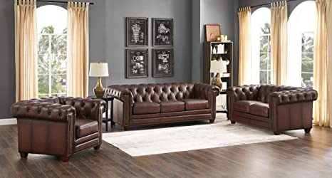 Amazon.com: Hydeline Stanwood 100% Leather Sofa Set, Dark ...