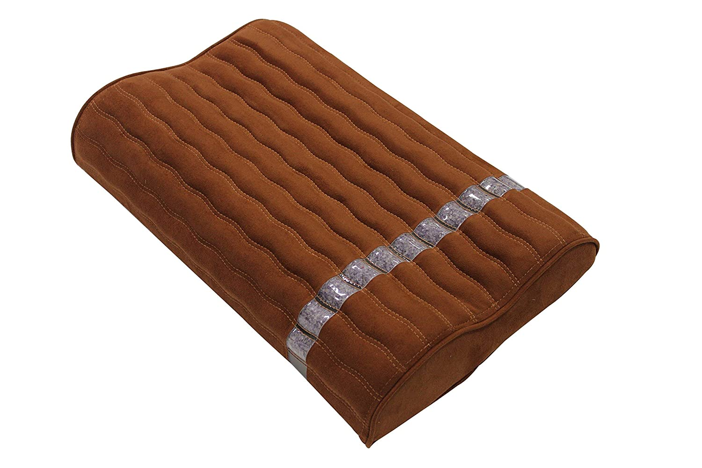 Ereada Far Infrared Amethyst Mat Pillow - High End Negative Ion and FIR Heat Pillow - Jewelry Grade Natural Amethyst - Memory Foam - Rich Brown Luxury Suede by Ereada Bio Amethyst B018DPPF9O