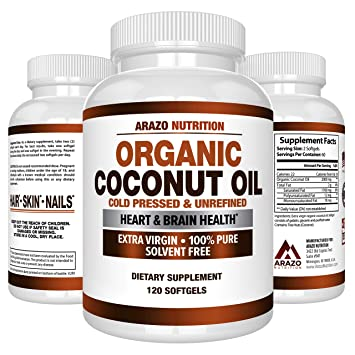 Organic Coconut Oil 2000mg - 100% Extra Virgin Cold Pressed for Weight  Support, Skin, Hair,