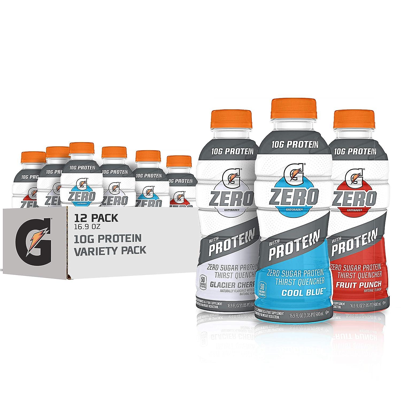 Gatorade Zero With Protein, 10g Whey Protein Isolate, Zero Sugar, Electrolytes, 3 Flavor Variety Pack, 16.9 Fl Oz, 12 Pack