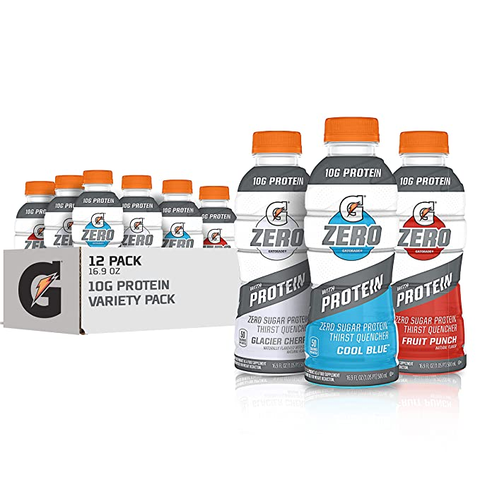 Amazon.com : Gatorade Zero With Protein, 10g Whey Protein Isolate, Zero Sugar, Electrolytes, 3 Flavor Variety Pack, 16.9 Fl Oz, 12 Pack : Grocery & Gourmet Food