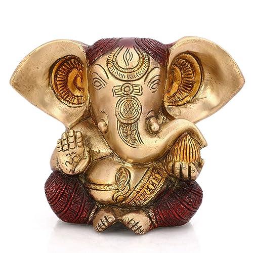CraftVatika Long Ear Ganesh Statue Hindu God Figurine Ganpati Murti Showpiece – Brass Sculpture