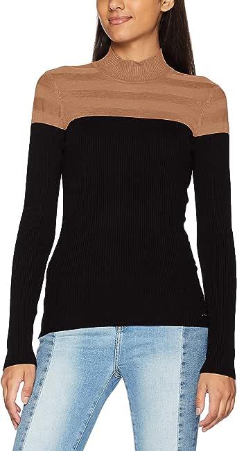 Morgan Pull Col Roulé Bicolore Mico Pullover Sweater para Mujer