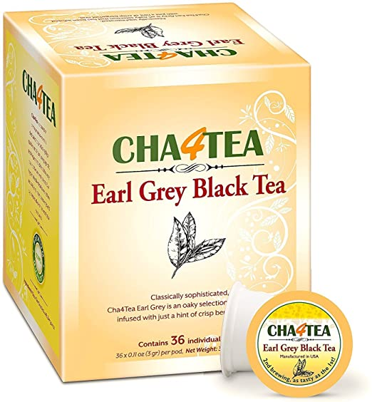 Cha4TEA 36-Count Earl Grey Tea K Cups for Keurig K-Cup